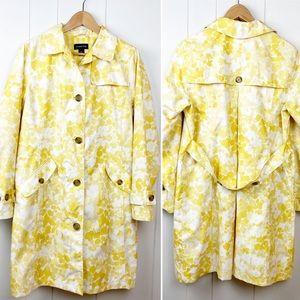 Lands' End Floral Trench Coat Rain Jacket Medium